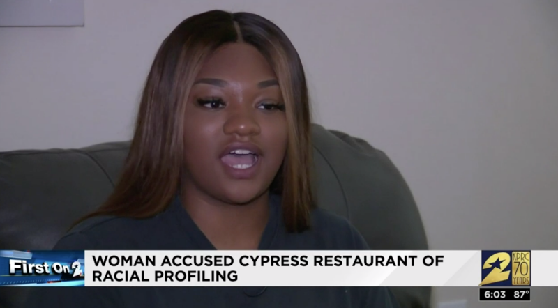 Brittany Blakney alleges she was racially profiled at cypress restuarant